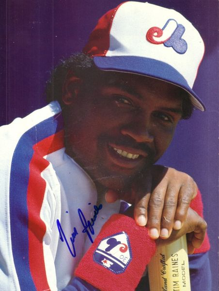 Tim Raines autographed Montreal Expos magazine back cover photo