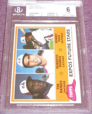 Tim Raines Montreal Expos 1981 Topps Rookie Card #479 BGS graded 6
