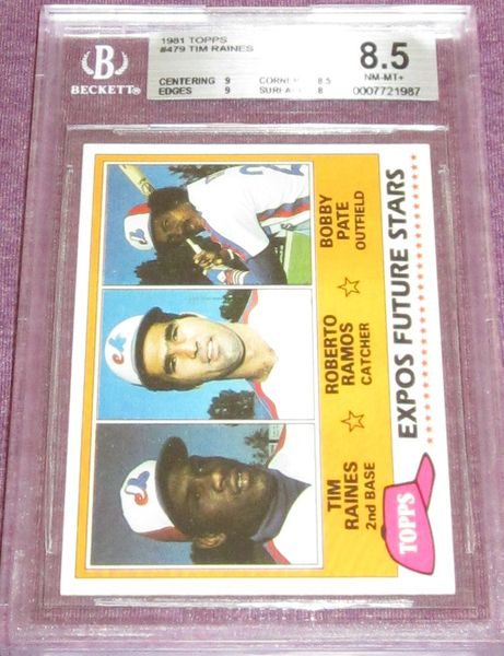 Tim Raines Montreal Expos 1981 Topps Rookie Card #479 BGS graded 8.5