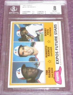 Tim Raines Montreal Expos 1981 Topps Rookie Card #479 BGS graded 8