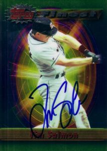 Tim Salmon autographed Angels 1994 Topps Finest jumbo card
