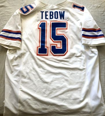 Tim Tebow Florida Gators authentic Nike game model white stitched jersey (orange dye tinge)