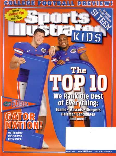 Tim Tebow Percy Harvin Florida Gators 2007 Sports Illustrated for Kids magazine MINT