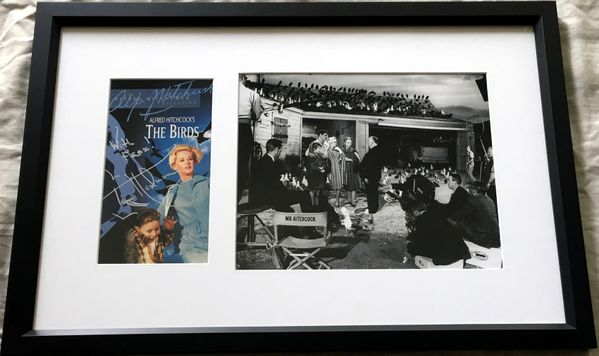 Tippi Hedren autographed The Birds movie video cover matted and framed with 8x10 photo