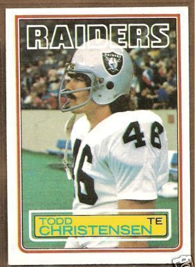 Todd Christensen Raiders 1983 Topps Rookie Card #298 NrMt