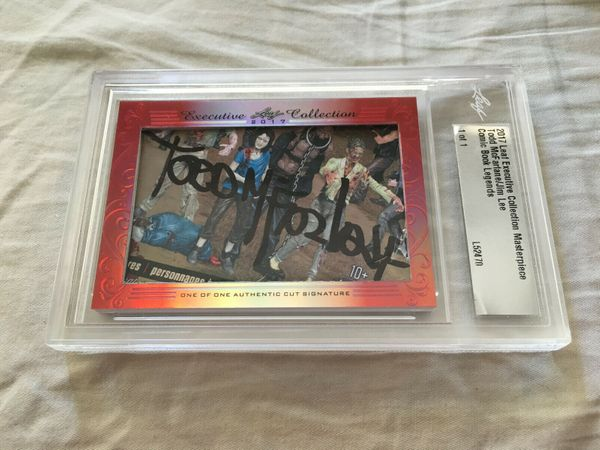 Todd McFarlane and Jim Lee 2017 Leaf Masterpiece Cut Signature certified autograph card 1/1 JSA