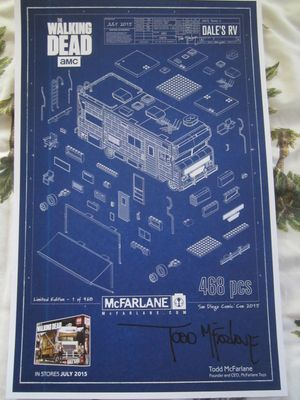 Todd McFarlane autographed Walking Dead Dale's RV 2015 Comic-Con exclusive poster