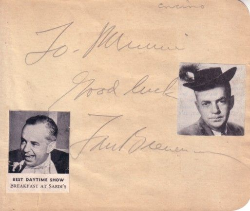 Tom Breneman (Breakfast in Hollywood) autographed autograph album or book page