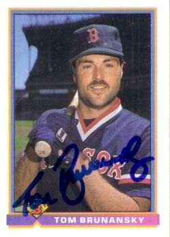 Tom Brunansky autographed Boston Red Sox 1991 Bowman card