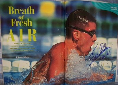 Tom Dolan autographed 1996 Olympics swimming magazine photo spread