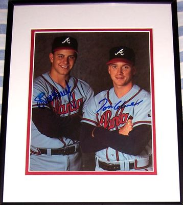 Tom Glavine and Steve Avery autographed Atlanta Braves 8x10 photo matted and framed