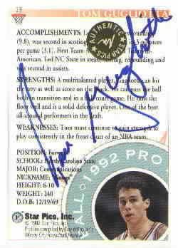 Tom Gugliotta certified autograph North Carolina State 1992 Star Pics card