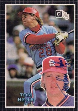 Tom Herr autographed St. Louis Cardinals 1985 Donruss Action All-Stars card