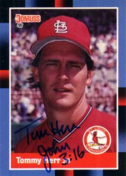 Tom Herr autographed St. Louis Cardinals 1988 Donruss card