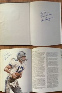Tom Landry and Roger Staubach autographed Dallas Cowboys The First 25 Years hardcover coffee table book (inscribed To Jim)