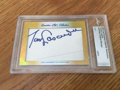 Tom Lasorda 2016 Leaf Masterpiece Cut Signature certified autograph card 1/1 JSA