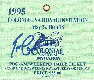 Tom Lehman autographed 1995 Colonial PGA Tour golf ticket