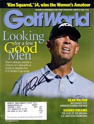 Tom Lehman autographed 2006 Golf World magazine