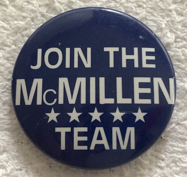 Tom McMillen 1986 congressional campaign button or pin