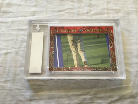 Tom Watson and Fuzzy Zoeller 2018 Leaf Masterpiece Cut Signature certified autograph card 1/1 JSA