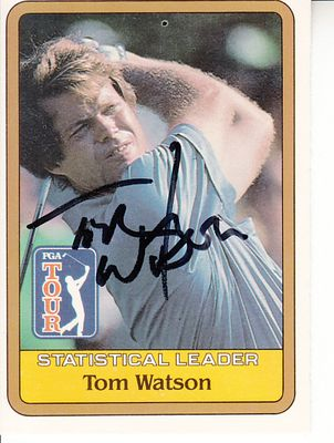 Tom Watson autographed 1981 Donruss PGA Tour golf card