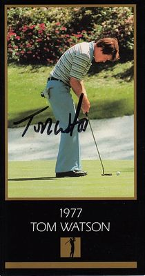 Tom Watson autographed 1977 Masters Champion golf card