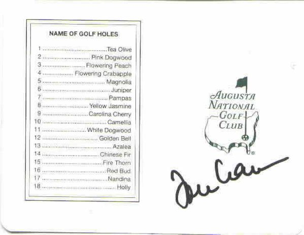 Tommy Aaron autographed Augusta National Masters scorecard