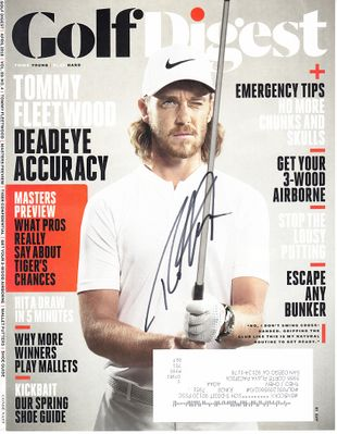 Tommy Fleetwood autographed 2018 Golf Digest magazine cover