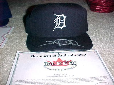 Tony Clark autographed Detroit Tigers authentic game model cap or hat (Fleer authenticated)