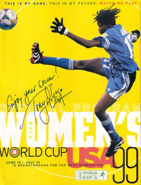 Tony DiCicco autographed 1999 Women's World Cup program inscribed USA and Enjoy Your Soccer!
