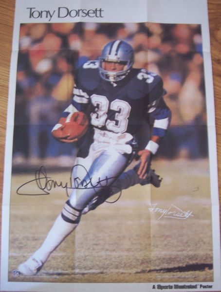 Tony Dorsett autographed Dallas Cowboys 11x17 mini poster