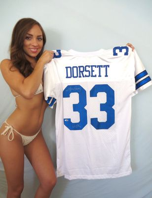 Tony Dorsett autographed Dallas Cowboys stitched jersey inscribed HOF 94 (TriStar)