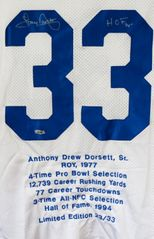 Tony Dorsett autographed Dallas Cowboys stitched jersey with embroidered career highlights #23/33 (TriStar)