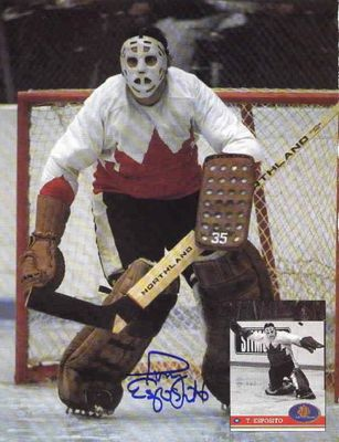 Tony Esposito autographed Team Canada Beckett Hockey back cover