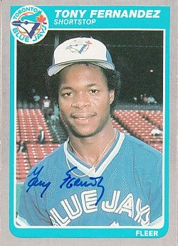 Tony Fernandez autographed Toronto Blue Jays 1985 Fleer card
