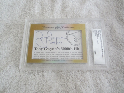 Tony Gwynn 2017 Leaf Masterpiece Cut Signature certified autograph card 1/1 JSA