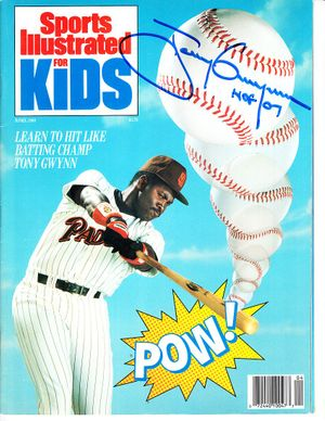Tony Gwynn autographed San Diego Padres April 1989 Sports Illustrated for Kids magazine inscribed HOF 07
