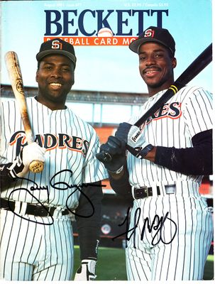 Tony Gwynn and Fred McGriff autographed San Diego Padres 1991 Beckett Baseball magazine cover