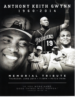 Tony Gwynn San Diego Padres June 26 2014 Memorial foldout program