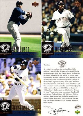 Tony Gwynn San Diego Padres Retirement 2001 Upper Deck baseball card partial set