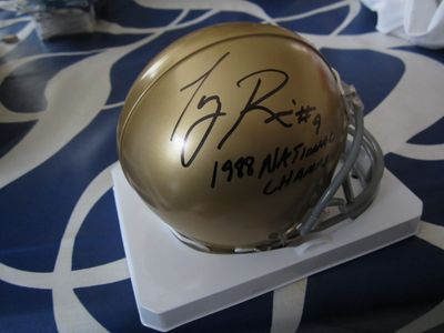 Tony Rice autographed Notre Dame Fighting Irish mini helmet inscribed 1988 National Champs