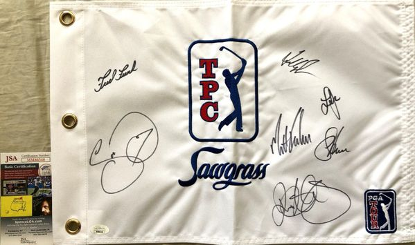 TPC Sawgrass golf flag autographed by 7 winners Rory McIlroy Fred Couples Jason Day JSA
