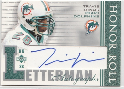 Travis Minor certified autograph Miami Dolphins 2003 Upper Deck Honor Roll Letterman card