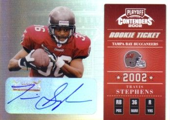 Travis Stephens certified autograph 2002 Playoff Contenders Rookie Ticket card #158/170