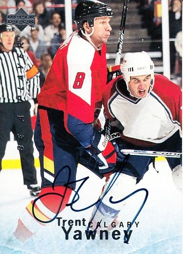 Trent Yawney Calgary Flames certified autograph 1995 Be A Player card
