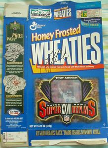 Troy Aikman autographed Dallas Cowboys Super Bowl 27 Wheaties cereal box