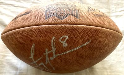 Troy Aikman autographed Super Bowl 27 Wilson NFL leather game model football (JSA)
