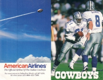 Troy Aikman & Deion Sanders 1996 Dallas Cowboys pocket schedule