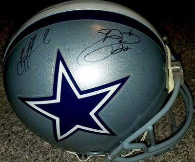 Troy Aikman and Emmitt Smith autographed Dallas Cowboys authentic Riddell full size Pro Line game model helmet (Prova)