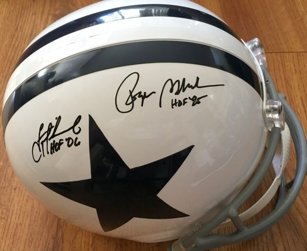 Troy Aikman and Roger Staubach autographed Dallas Cowboys full size white throwback helmet